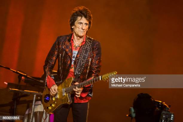 Ronnie Wood of the Rolling Stones performs in concert during their No Filter Tour at Friends Arena on October 12 2017 in Stockholm Sweden