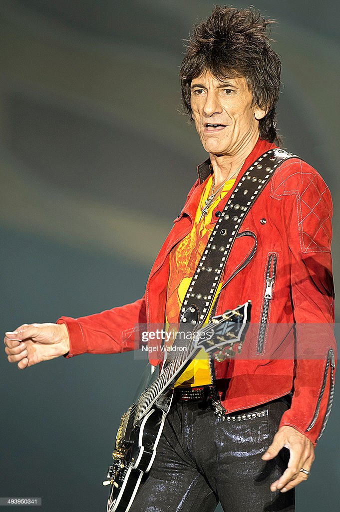 Ronnie Wood of The Rolling Stones performs on stage at Telenor Arena during the On Fire Tour 2014 on May 26, 2014 in Oslo, Norway.