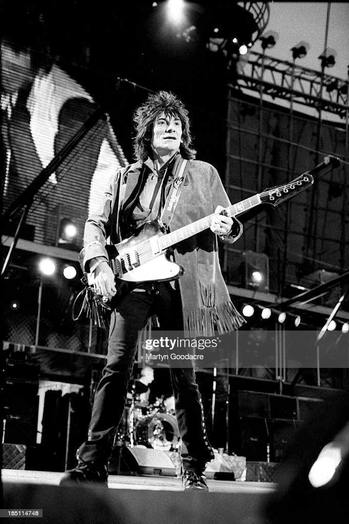 Ronnie Wood of the Rolling Stones performs on stage at the Don Valley Arena, Sheffield, United Kingdom, 1995.