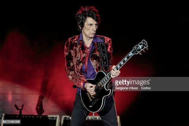 Ronnie Wood of The Rolling Stones performs on stage during Lucca Summer Festival 2017 on September 23 2017 in Lucca Italy