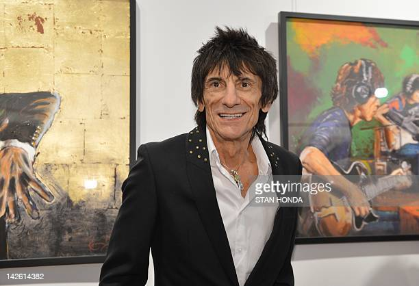 Ronnie Wood Rolling Stones guitarist at the opening of an exhibition of his artwork 'Faces Time and Places' at the Symbolic Collection April 9 2012...