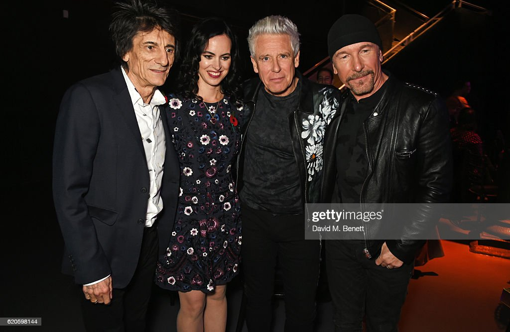 Ronnie Wood, Sally Wood, Adam Clayton and The Edge attend a drinks reception at The Stubhub Q Awards 2016 at The Roundhouse on November 2, 2016 in London, England.