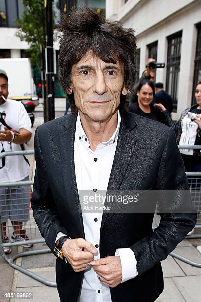 Ronnie Wood seen leaving the BBC Radio 2 studios on August 25 2015 in London England Photo by Alex Huckle/GC Images