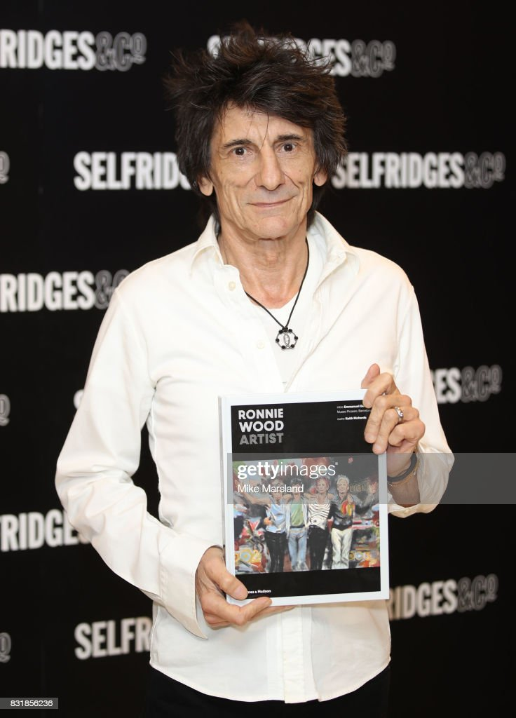 Ronnie Wood signs copies of his new book 'Ronnie Wood: Artist' at Selfridges on August 15, 2017 in London, England.