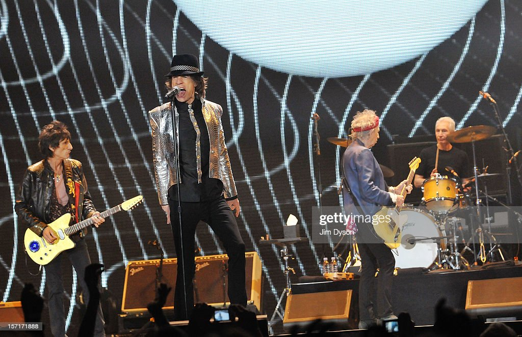 Ronnie Wood, Sir Mick Jagger, Keith Richards and Charlie Watts of The Rolling Stones perform live on stage, during their 50th anniversary tour at O2 Arena on November 29, 2012 in London, England.