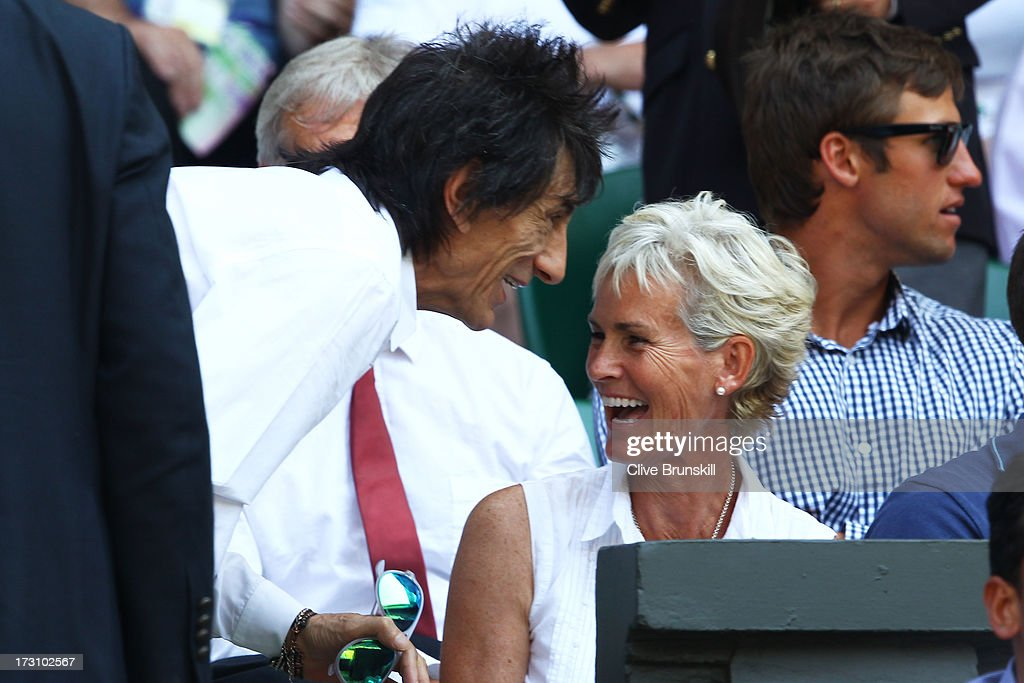 Ronnie Wood speaks with Judy Murray before the Gentlemen's Singles Final match between Andy Murray of Great Britain and Novak Djokovic of Serbia on day thirteen of the Wimbledon Lawn Tennis Championships at the All England Lawn Tennis and Croquet Club on July 7, 2013 in London, England.