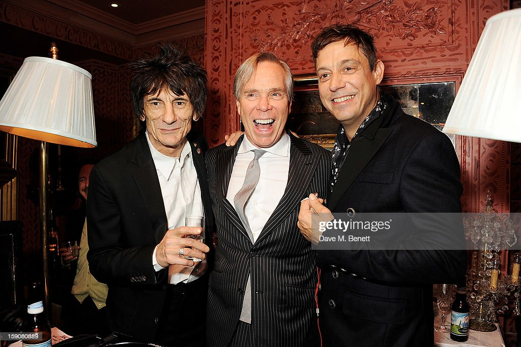 Ronnie Wood, Tommy Hilfiger and <a gi-track='captionPersonalityLinkClicked' href=/galleries/search?phrase=Jamie+Hince&family=editorial&specificpeople=220566 ng-click='$event.stopPropagation()'>Jamie Hince</a> attend the Esquire and Tommy Hilfiger party celebrating London Collections: MEN AW13, hosted by Esquire editor Alex Bilmes and Tommy Hilfiger, at the Zetter Townhouse on January 7, 2013 in London, England.