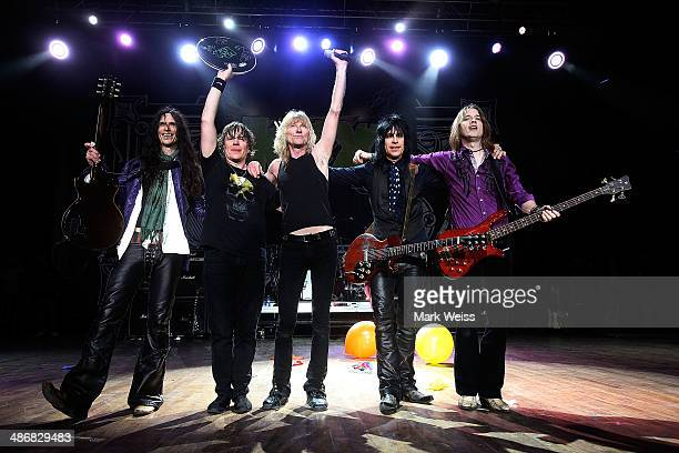 Ronnie Younkins Jimmy Chalfant Steve Whiteman Brian Forsythe and Mark Schenker perform during the 2014 M3 Rock Festival at Merriweather Post...