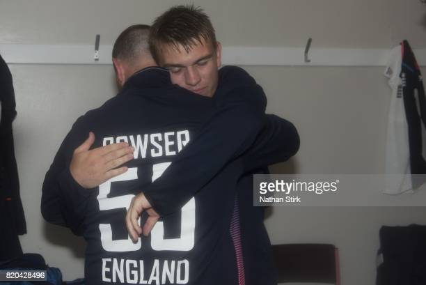 Ronnies Jackson hugs Dan Bowser of England after they win the INAS Learning Disability TriSeries Trophy Final match between England and South Africa...