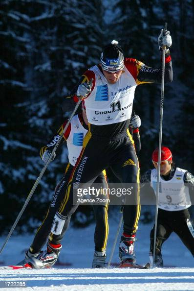 Ronny Ackerman of Germany in action during the men's Nordic Combined CrossCountry in the FIS Nordic Combined World Championships in ChauxNeuve France...