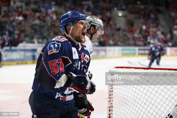 Ronny Arendt of Mannheim reacts during the DEL Playoffs quarter finals Game 7 between Adler Mannheim and Eisbareren Berlin at SAP Arena on March 21...