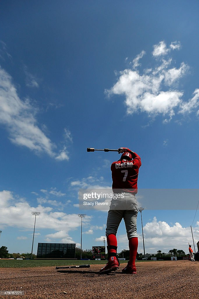 Ronny Cedeno of the Philadelphia Phillies loosens up prior to batting in the first inning of a game againt the Houston Astros at Osceola County...