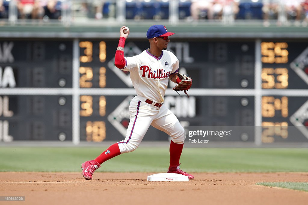 Ronny Cedeno of the Philadelphia Phillies plays shortstop during the game against the Atlanta Braves at Citizens Bank Park on June 28 2014 in...