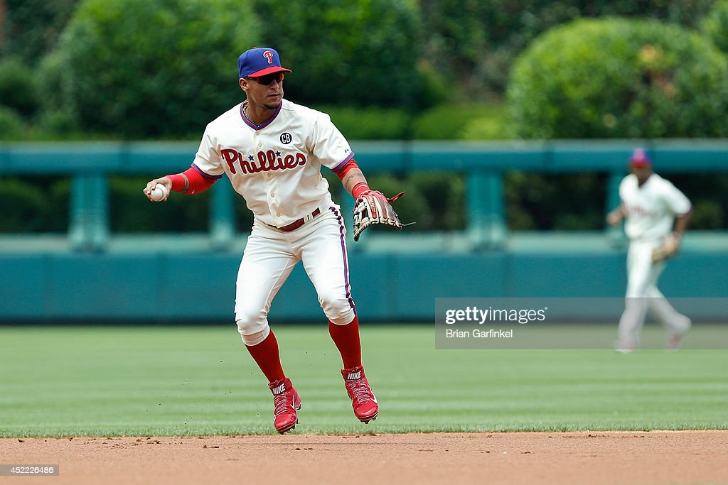 Ronny Cedeno of the Philadelphia Phillies throws the ball during the first game of a doubleheader against the Atlanta Braves at Citizens Bank Park on...