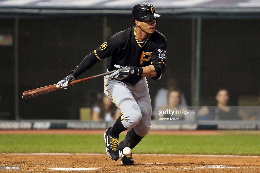 <a gi-track='captionPersonalityLinkClicked' href=/galleries/search?phrase=Ronny+Cedeno&family=editorial&specificpeople=546778 ng-click='$event.stopPropagation()'>Ronny Cedeno</a> #5 of the Pittsburgh Pirates attempts a bunt but was thrown out at first during the eighth inning against the Cleveland Indians at Progressive Field on June 17, 2011 in Cleveland, Ohio. The Indians defeated the Pirates 5-1.