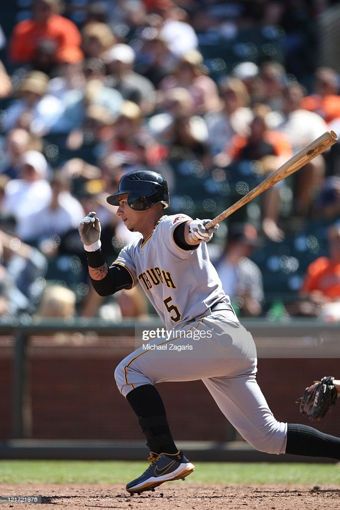 Ronny Cedeno of the Pittsburgh Pirates bats during the game against the San Francisco Giants at ATT Park on August 10 2011 in San Francisco...