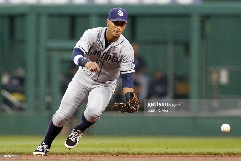 Ronny Cedeno of the San Diego Padres fields a ball in the first inning against the Pittsburgh Pirates during the game on September 18 2013 at PNC...