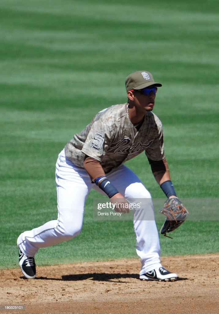Ronny Cedeno of the San Diego Padres plays during a baseball game against the Colorado Rockies at Petco Park on September 8 2013 in San Diego...