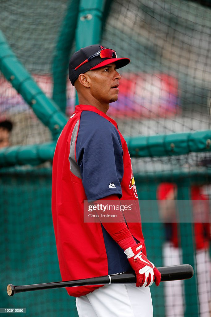 Ronny Cedeno #16 of the St. Louis Cardinals looks on during batting practice prior to the game against the Miami Marlins the Roger Dean Stadium on February 28, 2013 in Jupiter, Florida.