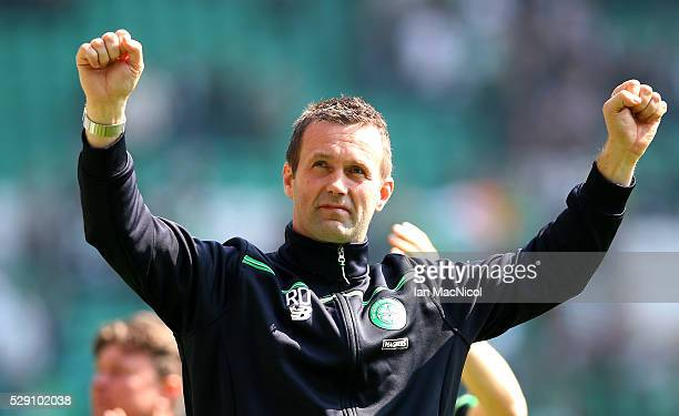 Ronny Deila Celtic Manager looks on during the Ladbroke Scottish Premiership match between Celtic and Aberdeen at Celtic Park on May 8 2016 in...
