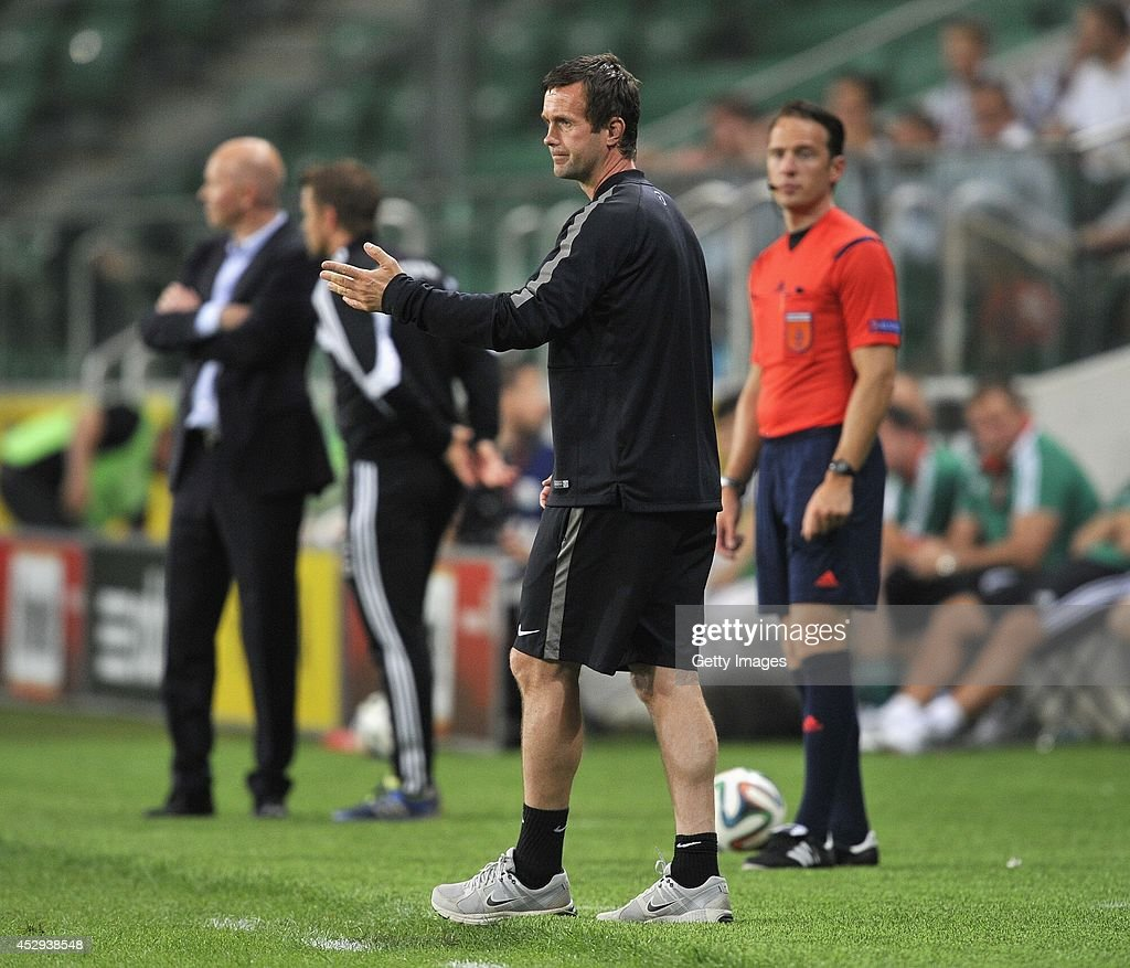Ronny Deila head coach of Celtic reacts during the third qualifying round UEFA Champions League match between Legia and Celtic at Pepsi Arena on July 30, 2014 in Warsaw, Poland.