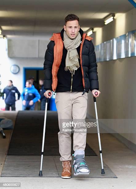 Ronny Garbuschewski of Chemnitz with crutches during the third Liga match between Chemnitzer FC and Hallescher FC at Stadion an der Gellertstrasse on...