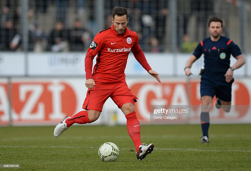 Ronny Garbuschewski of Rostock in action during the 3. Liga match between SV Stuttgarter Kickers and FC Hansa Rostock at GAZI-Stadion on February 6, 2016 in Stuttgart, Germany.
