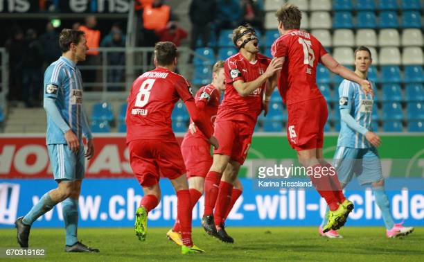 Ronny Koenig and Toni Wachsmuth of Zwickau celebrate the second goal during the Semifinals at Wernesgruener Sachsen Pokal between Chemnitzer FC and...