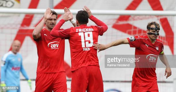 Ronny Koenig celebrates the second goal with Davy Frick of Zwickau during the Third League match between FSV Zwickau and Fortuna Koeln on April 23...
