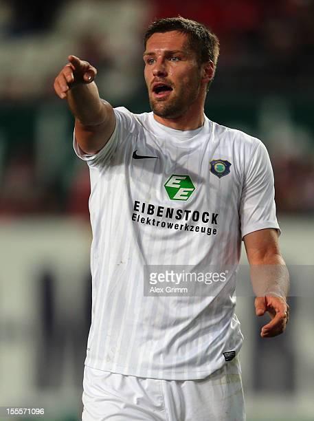 Ronny Koenig of Aue gestures during the Second Bundesliga match between 1 FC Kaiserslautern and Erzgebirge Aue at FritzWalterStadion on November 5...