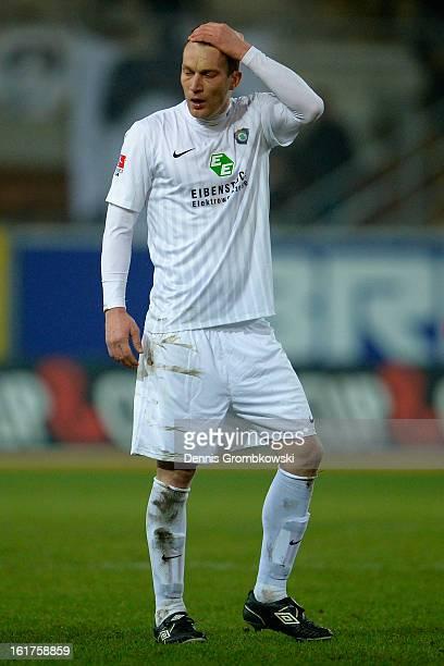 Ronny Koenig of Aue looks dejected after the Second Bundesliga match between SC Paderborn and Erzgebirge Aue at Benteler Arena on February 15 2013 in...