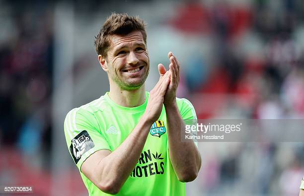 Ronny Koenig of Chemnitz during the Third League match between Hallescher FC and Chemnitzer FC at Erdgas Sportpark on April 10 2016 in Halle Germany
