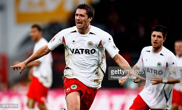 Ronny Koenig of Oberhausen celebrates scoring the first goal during the Second Bundesliga match between RW Oberhausen and Karlsruher SC at the...