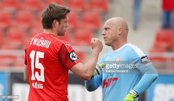 Ronny Koenig of Zwickau and Goalkeeper Andre Poggenborg of Koeln after the Third League match between FSV Zwickau and Fortuna Koeln on April 23 2017...