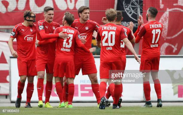 Ronny Koenig of Zwickau celebrates the opening goal with teammates during the Third League match between FSV Zwickau and Fortuna Koeln on April 23...