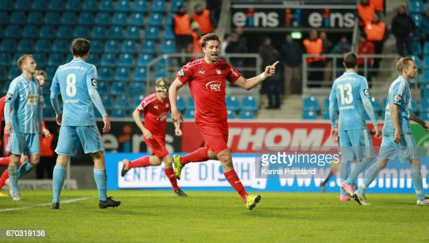 Ronny Koenig of Zwickau celebrates the second goal during the Semifinals at Wernesgruener Sachsen Pokal between Chemnitzer FC and FSV Zwickau on...