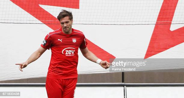 Ronny Koenig of Zwickau celebrates the second goal during the Third League match between FSV Zwickau and Fortuna Koeln on April 23 2017 at Stadion...