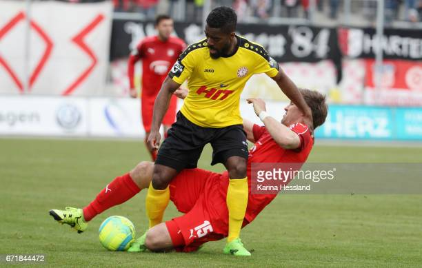 Ronny Koenig of Zwickau challenges Kusi Kwame of Koeln during the Third League match between FSV Zwickau and Fortuna Koeln on April 23 2017 at...