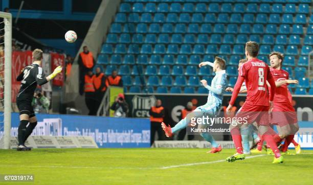 Ronny Koenig of Zwickau scores the second goal with head during the Semifinals at Wernesgruener Sachsen Pokal between Chemnitzer FC and FSV Zwickau...