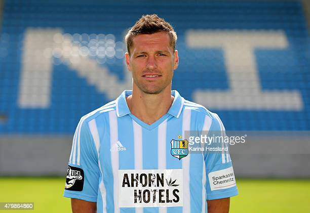 Ronny Koenig poses during the official team presentation of Chemnitzer FC at the Stadion an der Gellertstrasse on July 8 2015 in Chemnitz Germany