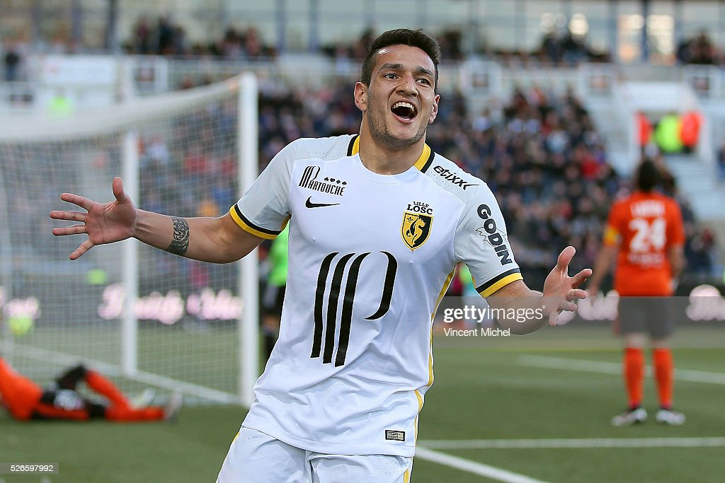 Ronny Lopes of Lille jubilates after scoring the first goal during the French Ligue 1 match between Fc Lorient and Lille OSC at Stade du Moustoir on April 30, 2016 in Lorient, France.