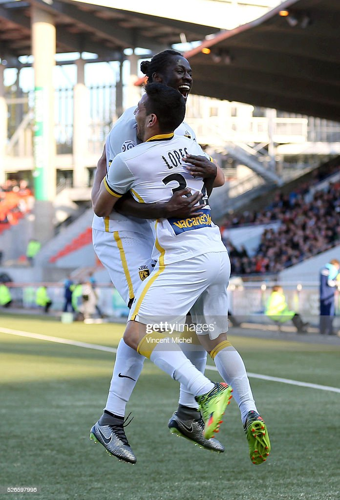 Ronny Lopes of Lille jubilates with Eder after scoring the first goal during the French Ligue 1 match between Fc Lorient and Lille OSC at Stade du Moustoir on April 30, 2016 in Lorient, France.