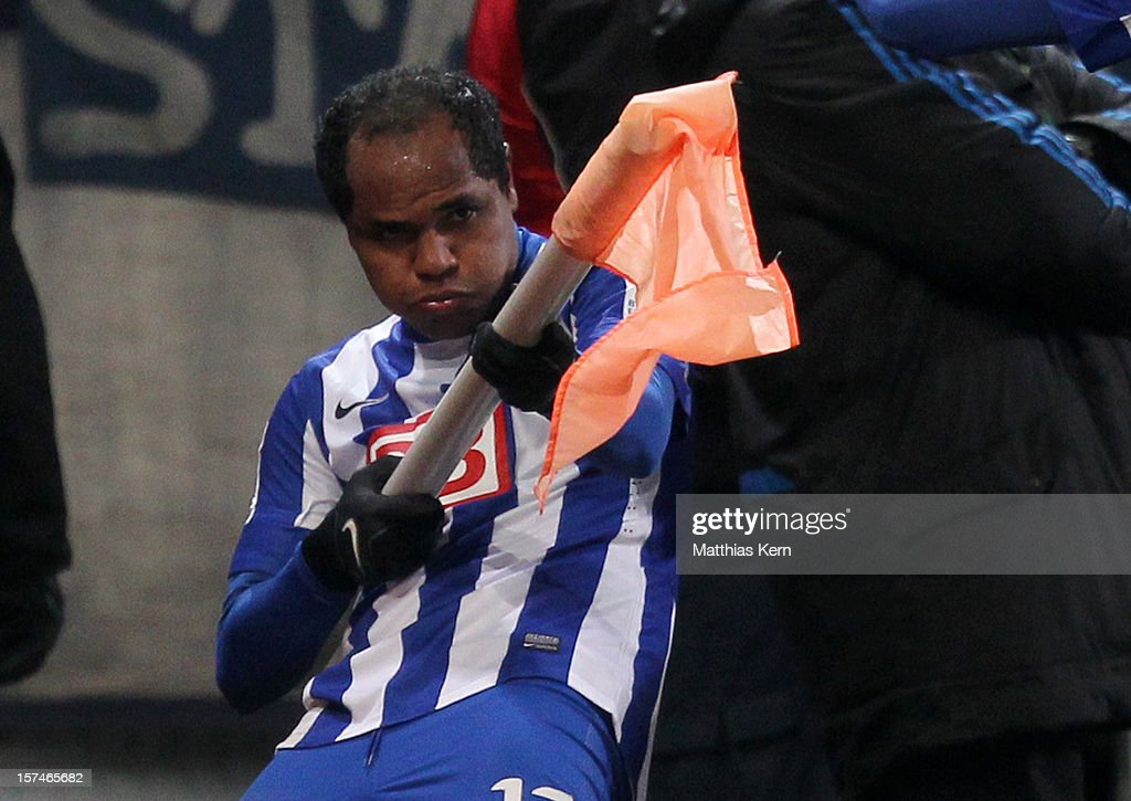 Ronny of Berlin jubilates after scoring the third goal during the Second Bundesliga match between FC Energie Cottbus and Hertha BSC Berlin at Stadion der Freundschaft on December 3, 2012 in Cottbus, Germany.