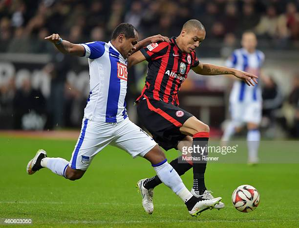 Ronny of Hertha BSC and Anderson of Eintracht Frankfurt duel during the Bundesliga match between Eintracht Frankfurt and Hertha BSC on december 17...