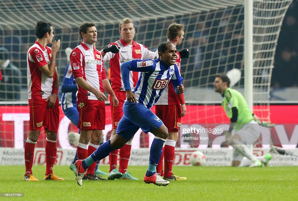 Ronny (C) of Hertha jubilates after scoring the fourth goal during the Second Bundesliga match between Hertha BSC Berlin and 1.FC Union Berlin at Olympic Stadium on February 11, 2013 in Berlin, Germany.