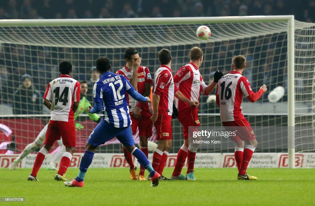 Ronny (C) of Hertha scores the fourth goal during the Second Bundesliga match between Hertha BSC Berlin and 1.FC Union Berlin at Olympic Stadium on February 11, 2013 in Berlin, Germany.