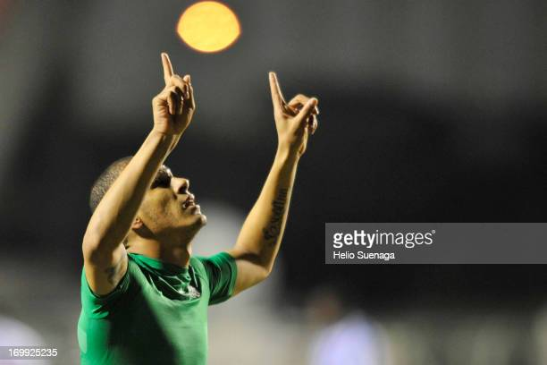 Ronny of Palmeiras celebra un gol contra Avaí during a match between Palmeiras and Avaí as part of Brazilian Championship Serie B 2013 at Novelli...