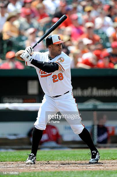 Ronny Paulino of the Baltimore Orioles bats against the Washington Nationals at Oriole Park at Camden Yards on June 24 2012 in Baltimore Maryland