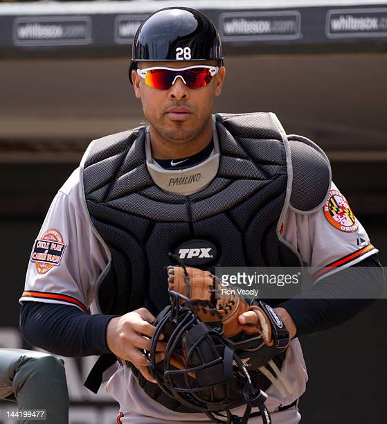 Ronny Paulino of the Baltimore Orioles looks on during the game against the Chicago White Sox on Thursday April 19 2012 at US Cellular Field in...
