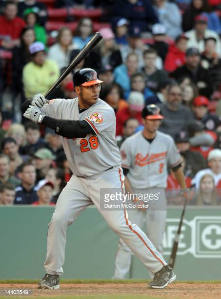 Ronny Paulino of the Baltimore Orioles waits for the pitch against the Boston Red Sox in the eleventh inning at Fenway Park May 6 2012 in Boston...